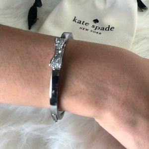 Kate Spade Silver Ready Set Bow Bangle Bracelet